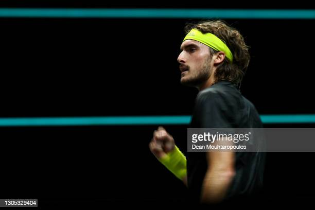 Stefanos Tsitsipas of Greece celebrates the point in his match against Hubert Hurkacz of Poland during Day 4 of the 48th ABN AMRO World Tennis...