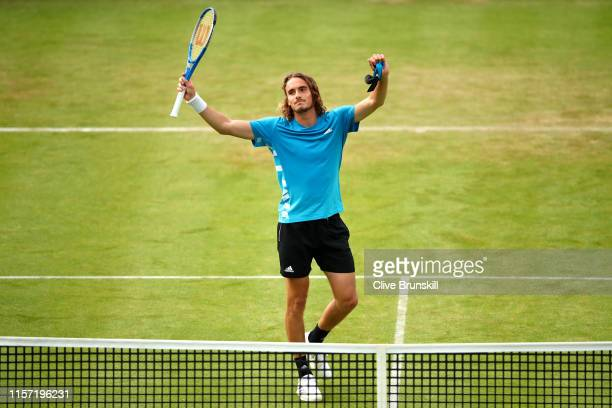 Stefanos Tsitsipas of Greece celebrates victory after his Second Round Singles Match against Jeremy Chardy of France during day Four of the...
