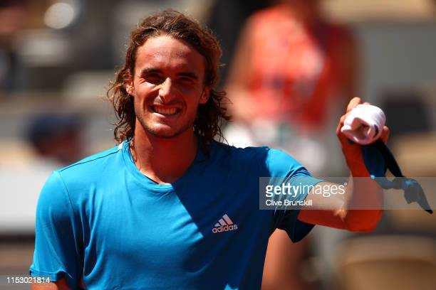 Stefanos Tsitsipas of Greece celebrates victory during his mens singles third round match against Filip Krajinovic of Serbia during Day seven of the...