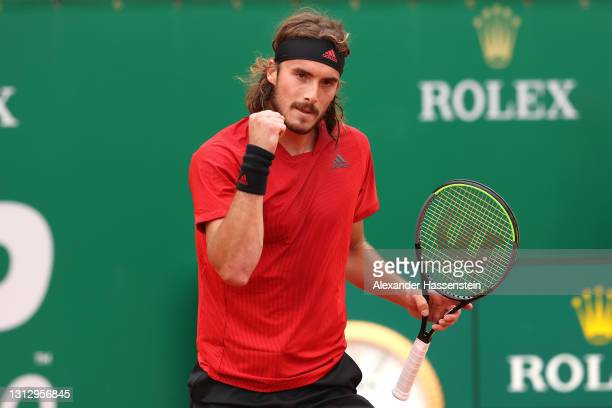 Stefanos Tsitsipas of Greece celebrates victory in the semi-final match against Dan Evans of Great Britain on day seven of the Rolex Monte-Carlo...