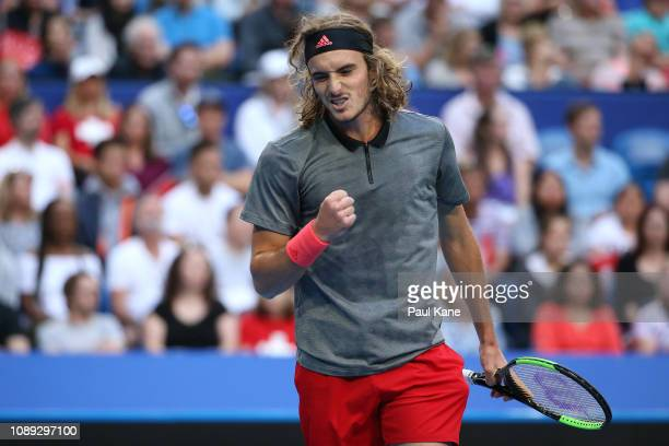 Stefanos Tsitsipas of Greece celebrates winning a gam against Roger Federer of Switzerland during day six of the 2019 Hopman Cup at RAC Arena on...