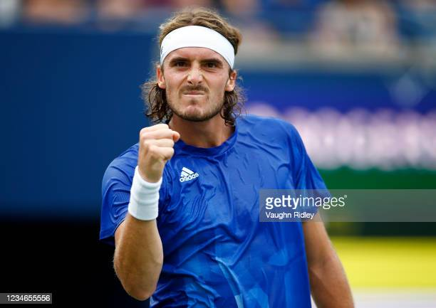Stefanos Tsitsipas of Greece celebrates winning a point against Casper Ruud of Norway during a quarterfinal match on Day Five of the National Bank...