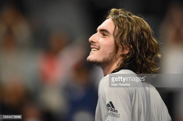 Stefanos Tsitsipas of Greece celebrates winning his match against Daniel Taro of Japan on day two of the Rakuten Open at Musashino Forest Sports...