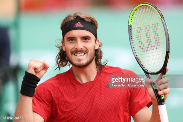 Stefanos Tsitsipas of Greece celebrates winning his quarterfinal match against Cristian Garin of Chile during day five of the Rolex Monte-Carlo...