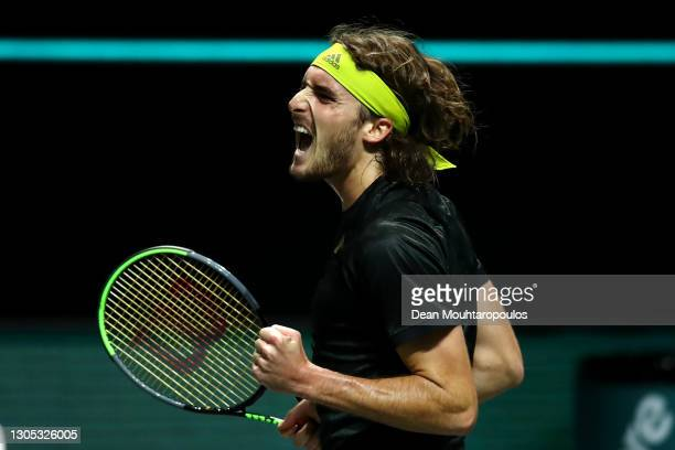 Stefanos Tsitsipas of Greece celebrates winning in his match against Hubert Hurkacz of Poland during Day 4 of the 48th ABN AMRO World Tennis...