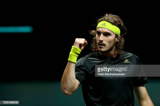 Stefanos Tsitsipas of Greece celebrates winning match point against Karen Khachanov of Russia during Day 5 of the 48th ABN AMRO World Tennis...