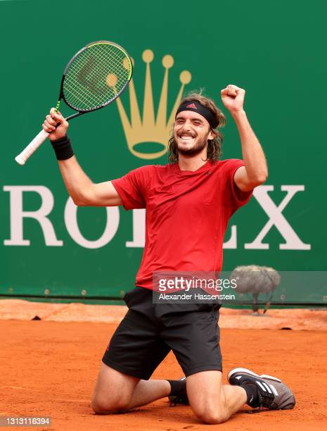 Stefanos Tsitsipas of Greece celebrates winning match point during the Men's Final match with Andrey Rublev of Russia on day eight of the Rolex...