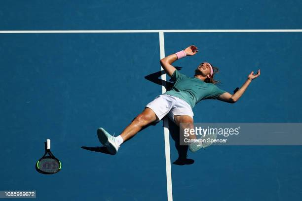 Stefanos Tsitsipas of Greece celebrates winning match point in his quarter final match against Roberto Bautista Agut of Spain during day nine of the...