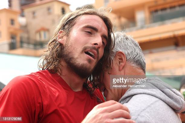 Stefanos Tsitsipas of Greece celebrates with his Father, Apostolos Tsitsipas after winning the Men's Final match against Andrey Rublev of Russia on...