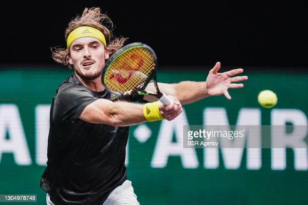 Stefanos Tsitsipas of Greece celebrating during his match against Egor Gerasimov of Belarus during the 48e ABN AMRO World Tennis Tournament at...