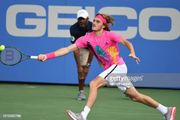Stefanos Tsitsipas of Greece dives for a shot from David Goffin of Belguim during Day Seven of the Citi Open at the Rock Creek Tennis Center on...