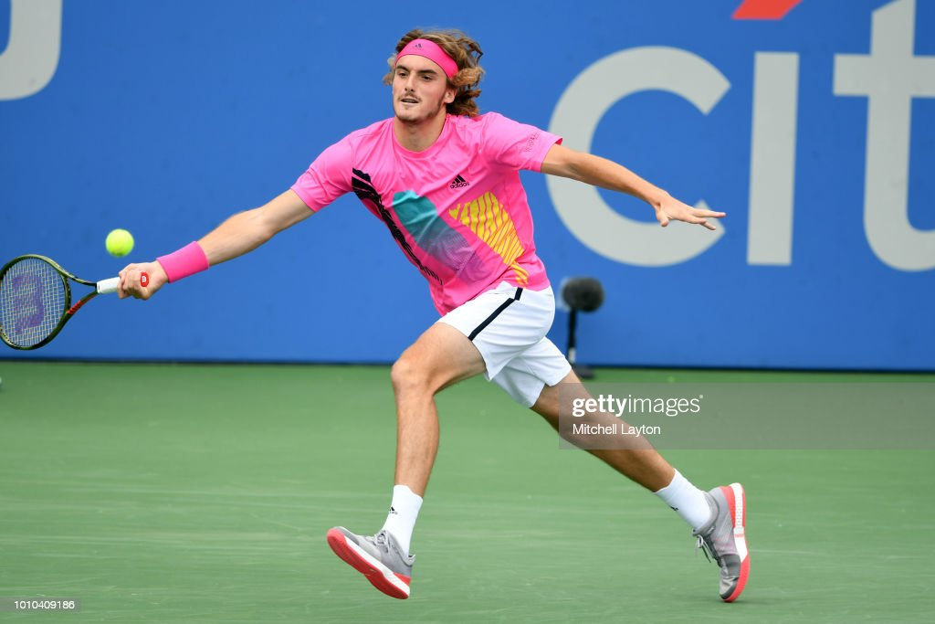 Stefanos Tsitsipas of Greece dives for a shot from David Goffin of Belguim during Day Seven of the Citi Open at the Rock Creek Tennis Center on August 3, 2018 in Washington, DC.