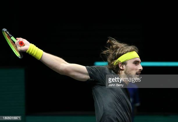Stefanos Tsitsipas of Greece during his first round match against Egor Gerasimov of Belarus on day 2 of the 48th ABN AMRO World Tennis Tournament at...