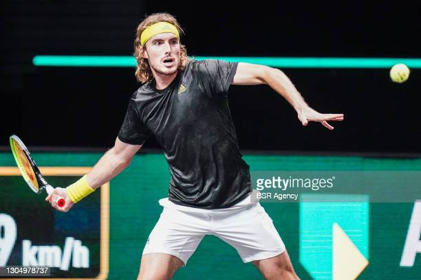 Stefanos Tsitsipas of Greece during his match against Egor Gerasimov of Belarus during the 48e ABN AMRO World Tennis Tournament at Rotterdam Ahoy on...