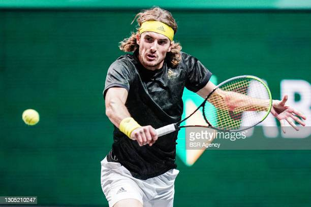 Stefanos Tsitsipas of Greece during his match with Petros Tsitsipas of Greece against Sander Gille of Belgium and Joran Vliegen of Belgium during the...