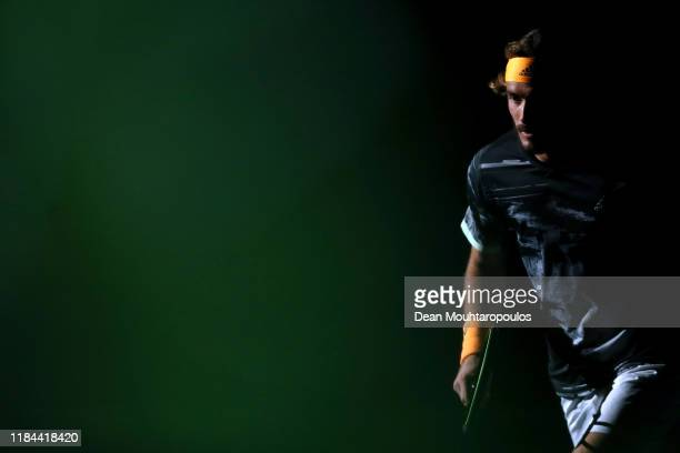 Stefanos Tsitsipas of Greece enters the court to play his match against Taylor Fritz of USA on day 3 of the Rolex Paris Masters, part of the ATP...