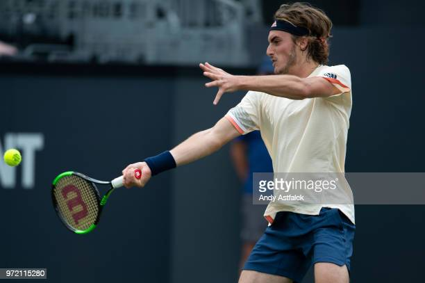 Stefanos Tsitsipas of Greece hits a forehand during the Men's singles first round match against Bernard Tomic of Australia on day two on Day Two of...
