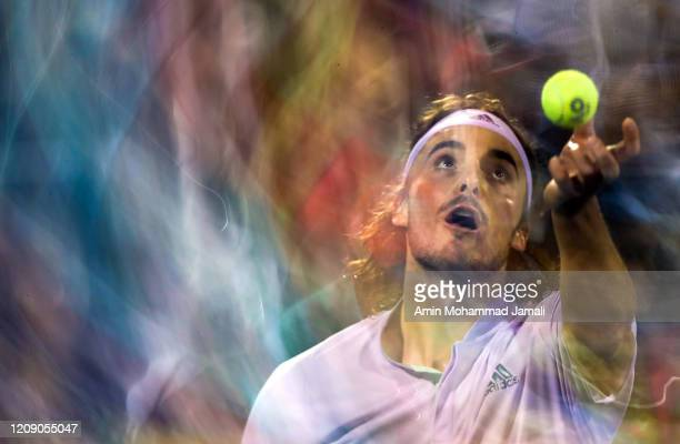 Stefanos Tsitsipas of Greece in action against anLennard Struff of Germany during his men's singles match on day eleven of the Dubai Duty Free Tennis...