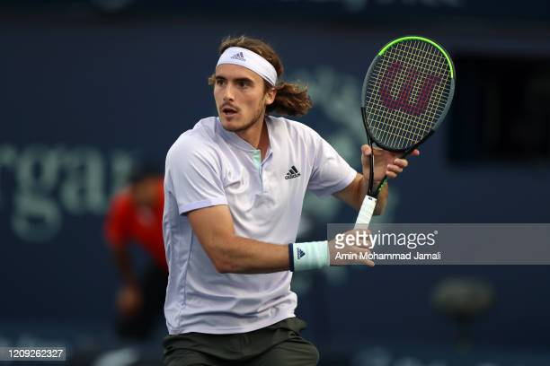 Stefanos Tsitsipas of Greece in action against Daniel Evans of Britain during Day twelve of the Dubai Duty Free Tennis at Dubai Duty Free Tennis...