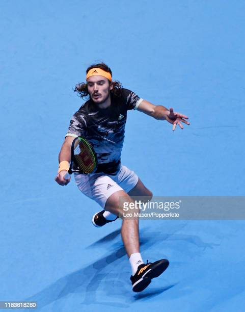 Stefanos Tsitsipas of Greece in action against Dominic Thiem during their Final match on Day Eight of the Nitto ATP Finals at The O2 Arena on...