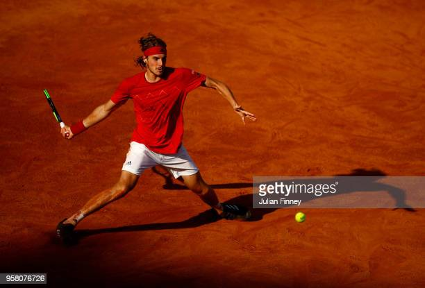 Stefanos Tsitsipas of Greece in action against Dusan Lajovic of Serbia during day one of the Internazionali BNL d'Italia 2018 tennis at Foro Italico...