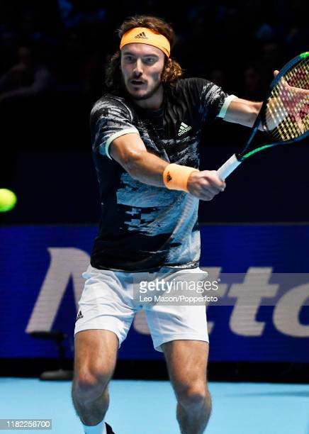 Stefanos Tsitsipas of Greece in action during his match against Alexander Zverev on Day Four of the Nitto ATP Finals at The O2 Arena on November 13...