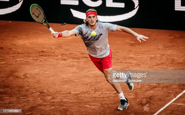 Stefanos Tsitsipas of Greece in action during Round One of the Hamburg European Open 2020 at Rothenbaum on September 23, 2020 in Hamburg, Germany.