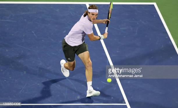 Stefanos Tsitsipas of Greece in action during the final against Novak Djokovic of Serbia Match Day thirteen of the Dubai Duty Free Tennis at Dubai...