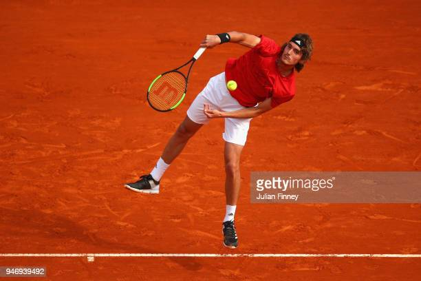 Stefanos Tsitsipas of Greece in action in his match against Denis Shapovalov of Canada during day two of ATP Masters Series Monte Carlo Rolex Masters...