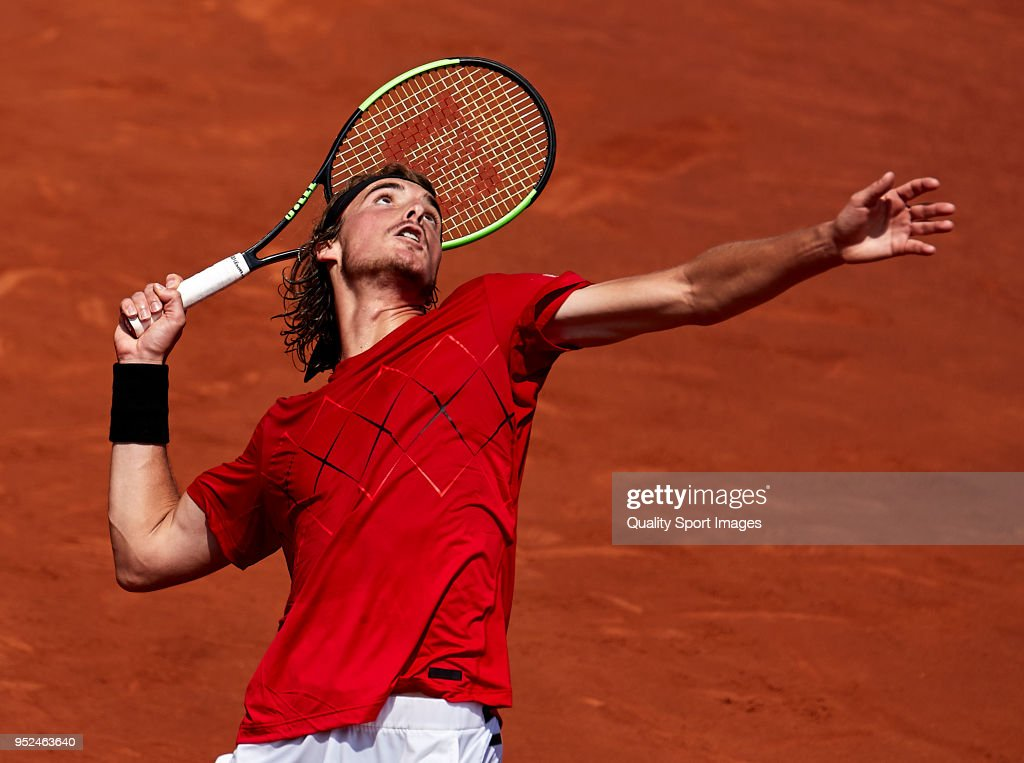 Stefanos Tsitsipas of Greece in action in his match against Pablo Carreno Busta of Spain during day sixth of the ATP Barcelona Open Banc Sabadell at the Real Club de Tenis Barcelona on April 28, 2018 in Barcelona, Spain
