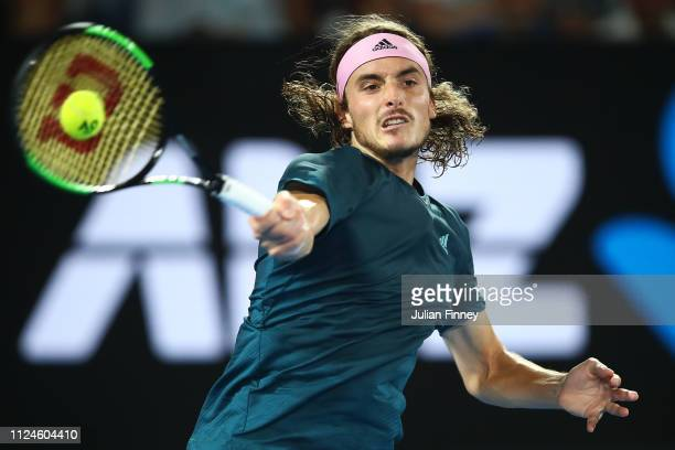 Stefanos Tsitsipas of Greece in action in his Men's Semi Final match against Rafael Nadal of Spain during day 11 of the 2019 Australian Open at...