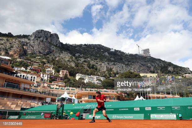 Stefanos Tsitsipas of Greece in action in his mens singles match against Aslan Karatsev of Russia during the second round on day three of the Rolex...