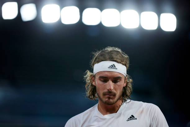 Stefanos Tsitsipas of Greece in his Quarter Final match against Daniil Medvedev of Russia during day ten of the 2021 French Open at Roland Garros on...