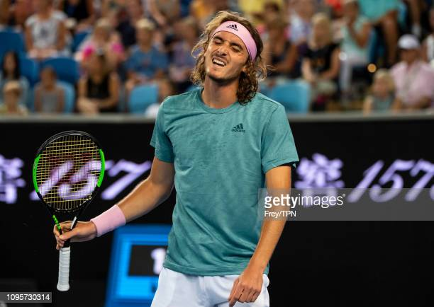 Stefanos Tsitsipas of Greece looks frustrated during his match against Nikoloz Basilashvili of Georgia during day five of the 2019 Australian Open at...
