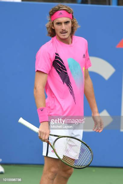 Stefanos Tsitsipas of Greece looks on during a match against David Goffin of Belguim during Day Seven of the Citi Open at the Rock Creek Tennis...