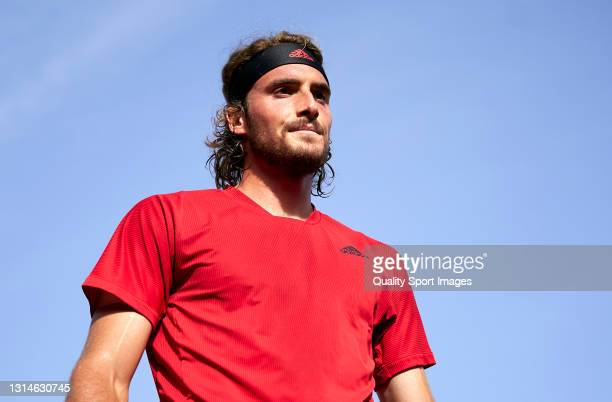 Stefanos Tsitsipas of Greece looks on during his Men's Singles final match against Rafael Nadal of Spain on day seven of the Barcelona Open Banc...