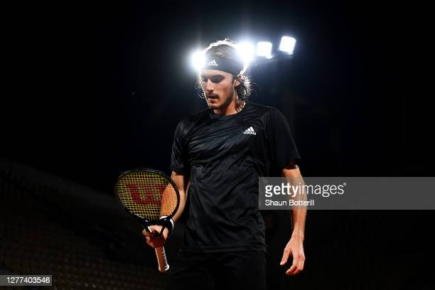 Stefanos Tsitsipas of Greece looks on during his Men's Singles first round match against Jaume Munar of Spain on day three of the 2020 French Open at...