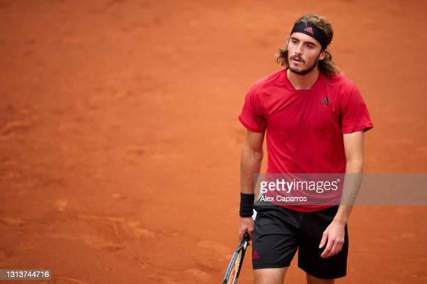 Stefanos Tsitsipas of Greece looks on during his second round match against Jaume Munar of Spain during day three of the Barcelona Open Banc Sabadell...