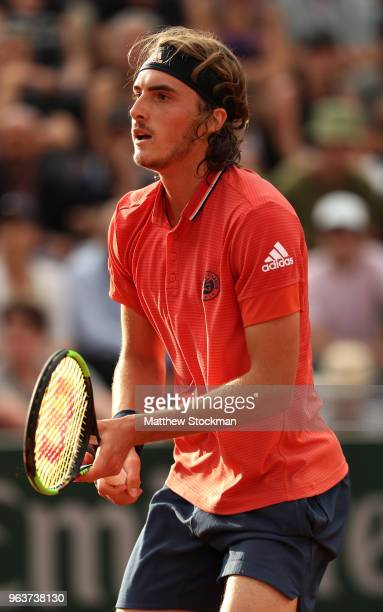 Stefanos Tsitsipas of Greece looks on during the mens singles second round match against Dominic Thiem of Austria during day four of the 2018 French...