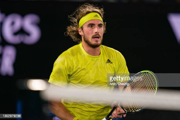 Stefanos Tsitsipas of Greece looks on in his Men's Singles Semifinals match against Daniil Medvedev of Russia during day 12 of the 2021 Australian...