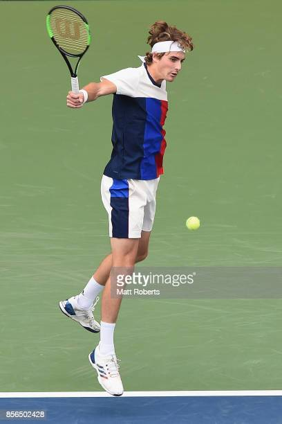 Stefanos Tsitsipas of Greece plays a backhand against Marin Cilic of Coratia during day one of the Rakuten Open at Ariake Coliseum on October 2 2017...