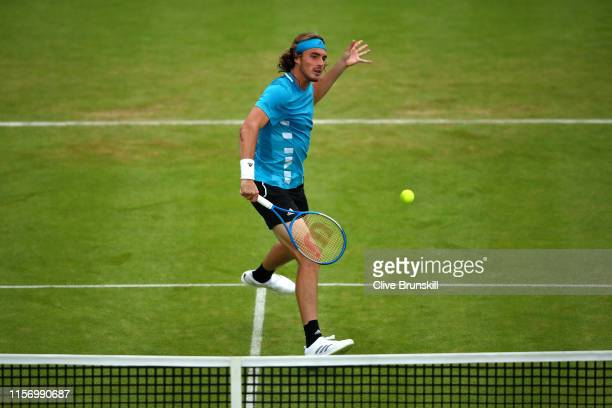 Stefanos Tsitsipas of Greece plays a backhand during his First Round Singles Match against Kyle Edmund of Great Britain during day Three of the...