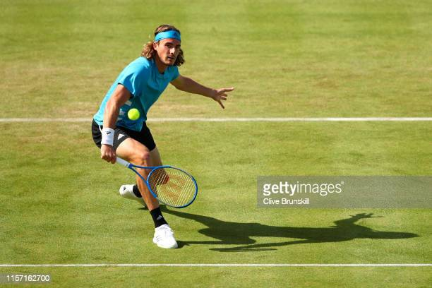 Stefanos Tsitsipas of Greece plays a backhand during his Second Round Singles Match against Jeremy Chardy of France during day Four of the FeverTree...