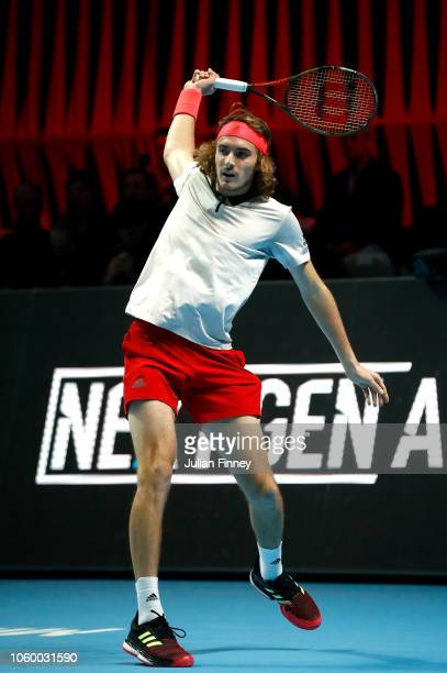 Stefanos Tsitsipas of Greece plays a backhand in his match against Alex de Minaur of Australia in the final during Day Five of the Next Gen ATP...
