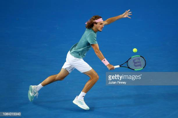 Stefanos Tsitsipas of Greece plays a backhand in his third round match against Nikoloz Basilashvili of Georgia during day five of the 2019 Australian...
