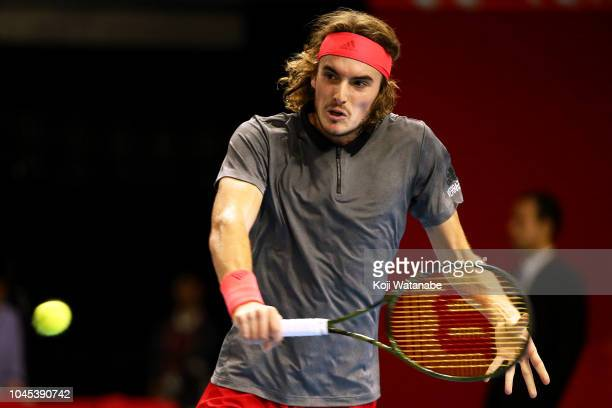 Stefanos Tsitsipas of Greece plays a backhand in the Singles second round against Alex De Minaur of Australia on day four of the Rakuten Open at...