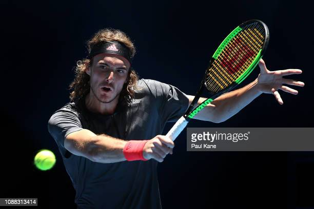 Stefanos Tsitsipas of Greece plays a backhand to Frances Tiafoe of the United States during day three of the 2019 Hopman Cup at RAC Arena on December...