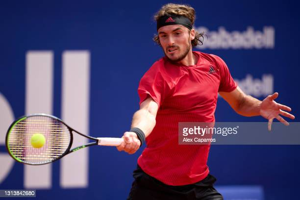 Stefanos Tsitsipas of Greece plays a forehand against Alex De Minaur of Australia in their third round match during day four of the Barcelona Open...