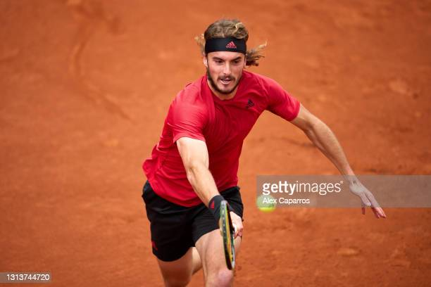 Stefanos Tsitsipas of Greece plays a forehand against Jaume Munar of Spain in their second round match during day three of the Barcelona Open Banc...