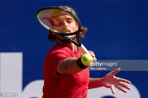 Stefanos Tsitsipas of Greece plays a forehand against Rafael Nadal of Spain in their final match during day seven of the Barcelona Open Banc Sabadell...